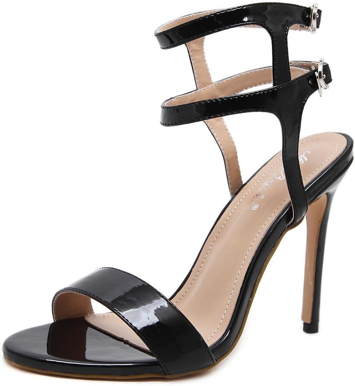 Damen Sexy Stilett Sandalen Hoch Hacke Schuhe Knöchel Gurt Schnalle Gucken Zehe Schwarz Arbeit Party Kleid Nachtclub    Vorzugspreis