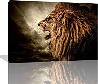 KALAWA Brown Fierce Lion Against Stormy Sky Painting The Picture Print On Canvas Animal Pictures for Living Room Gifts Wooden Framed Ready to Hang(28''W x 44''H)