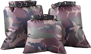 3 Pack Waterproof Dry Bag 3L/5L/8L Outdoor Kayaking Drifting Diving Beach Lightweight Rubber Waterproof Storage Bag Military Camouflage Color