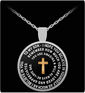 I Love My Son - Inspirational Necklace With Cross - From Father - Round Pendant