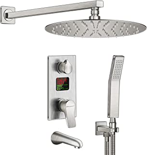 Charmingwater Shower System,Shower Faucet Set with Tub Spout and LED Digital Fahrenheit Display Valve Shower Combo Set, Shower Fixture Brushed Nickel (Contain 10in Rainfall Shower Head)