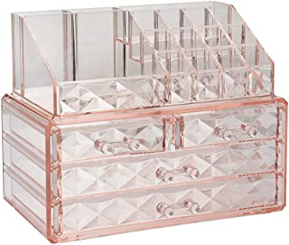 Jewelry and Cosmetic Boxes with Brush Holder - Pink Diamond Pattern Storage Display Cube...
