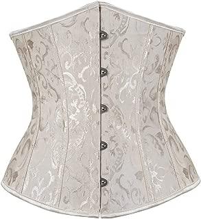 frawirshau Women's Satin Lace Up Boned Lingerie Bridal Underbust Corset Top Low Back