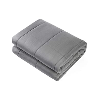Waowoo Adult Weighted Blanket Queen Size(15lbs 60 x80 ) Heavy Blanket with Premium Glass Beads, (Dark Grey)