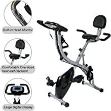 SogesHome Semi Recumbent Exercise Bike Foldable Magnetic Upright Exercise Bike with Pulse Rate Monitoring, Adjustable Arm Resistance Bands and LCD Monitor