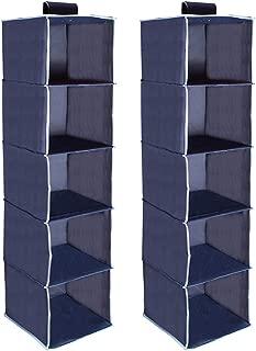 LoveStorage 2 Packs 5-Shelf Hanging Closet Organizer with Loop Closure, Dark Blue