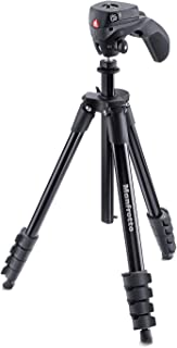 Manfrotto Compact Action Aluminum Stable; Portable; Precise Manfrotto Compact Action Aluminum Tripod with Hybrid Head, Black, Black (MKCOMPACTACN-BK)