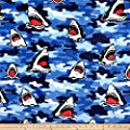 Newcastle Fabrics Whisper Fleece Shark Camo Blue Fabric Fabric by the Yard