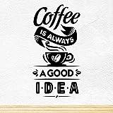 Wall4stickers Coffee Good Idea Taza de café para Llevar Tienda de vinos Vinilo Pegatina Letrero de Ventana Decoración de Signo de Arte de Pared …