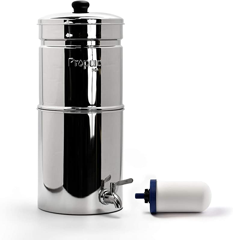 Propur Traveler Countertop Gravity Water Filter System Removes Fluoride Lead Chlorine Microplastics And More Includes 1 ProOne 5 Inch Filter Element Use In Your Home Or Office