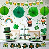 YIHONG St. Patrick's Day Decorations Set, 22 Pieces Hanging Swirls with Lucky Irish Green Shamrock, Leprechauns, Sant Patrick Poms, Banners for Home Theme Party Decorations