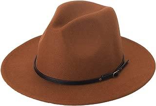 Women Lady Retro Wide Brim Floppy Panama Hat Belt Buckle Wool Fedora Hat