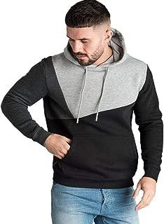 Coupondeal Men's Patchwork Hooded Sweatshirt Fall Winter Long Sleeve Hoodies Pullover Color Block Cozy Sport Tops