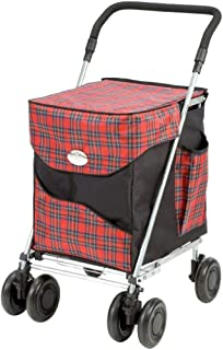 Sholley ® Deluxe Shopping Trolley, Grocery Cart Utility Cart 4 Wheels Light and Easy to Push, Foldable, Height & Angle Adjustable Handle, Strong & Stable Aids Walking, Mens & Ladies Design (Balmoral)