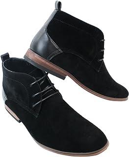 f5e32e22e221c0 Chaussures homme bottines simili daim noir doublure en cuir avec lacets