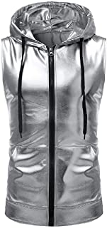 FRPE Men Metallic Drawstring Full-Zip Sleeveless Hoodie Vest Tank Hoodies