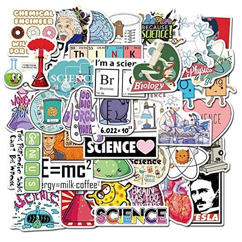 JIAQI Gemischte Laborwissenschaft Chemische Mathematik Symbol Element Formel Stil Aufkleber Für Handy Laptop Fall Gepäck Aufkleber 50St