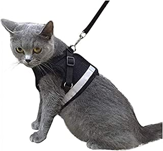 Escape Proof Cat Harness and Leash for Walking Adjustable Soft Mesh Pet Vest with Lead for Kitten Puppy Rabbit -(Black,XS)