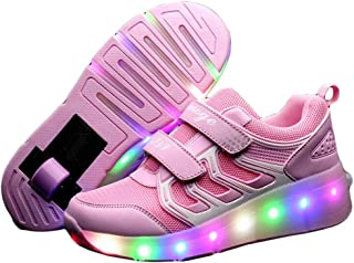 Unisex Lighted Shoes Skate Shoes Roller Shoes LED Light up Shoes with Wheel Flashing Sneakers for Kids Gift