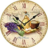YOAI Wanduhr küchenuhr Vintage Shabby CHIC Antik Nostalgie Rustikale Quarzuhr aus MDF mit lautlosem Uhrwerk,12 Zoll/30CM Ø (Bunt)