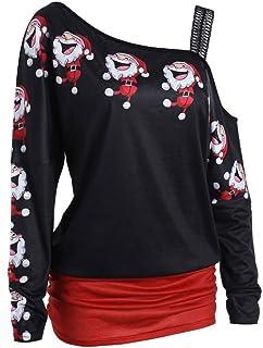 OverDose Camisas Mujer de Navidad Blusa Estampada navideña Elegante M/L/XL/XXL