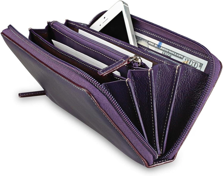 Levenger Accordion Wallet W Walletini Pen  Grape