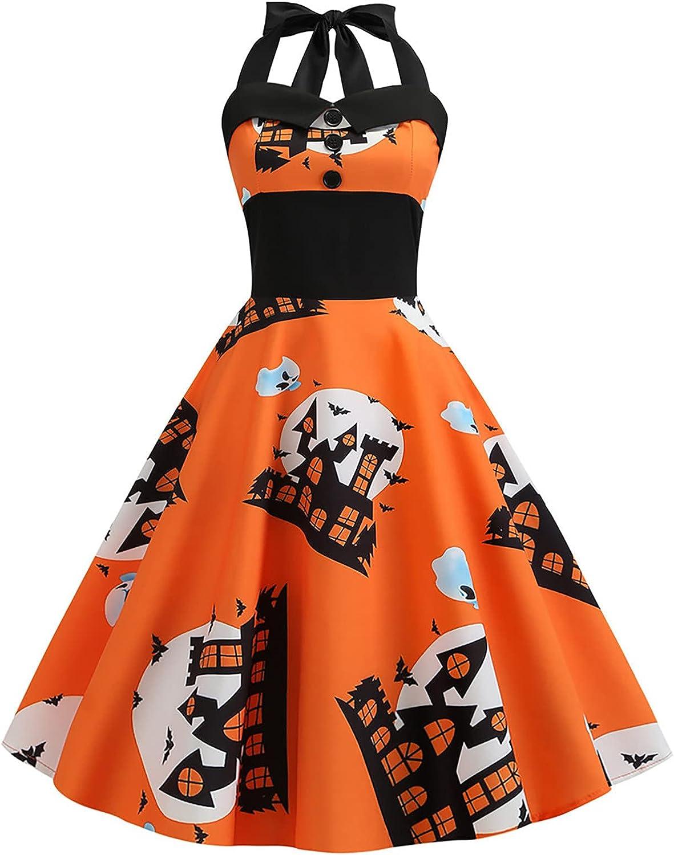 Women's Rockabilly 50s Vintage Polka Halloween Halter Cocktail Swing Dress