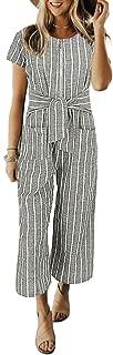 Women's Striped Linen Short Sleeves Wide Leg Palazzo Jumpsuit Romper with Zip Pockets Tie
