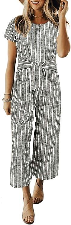 Cosygal Women's Striped Linen Short Sleeves Wide Leg Palazzo Jumpsuit Romper with Zip Pockets Tie
