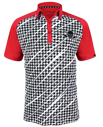 Houndstooth Print ProCool Men's Golf Shirt (Red) - Small