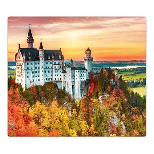 DekoGlas Herdabdeckplatte inkl. Noppen 'Neuschwanstein Burg', gehärtetes Glas, Herd Ceranfeld Abdeckung, einteilig universal 52x60 cm