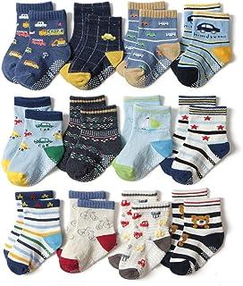Lindos Calcetines Antideslizantes de Algodón Para Bebés Niños Niñas Infantiles 12 Pares