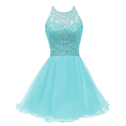 83fd0986823 WDING Short Prom Dresses for Juniors Lace Appliques Tulle Homecoming Dress