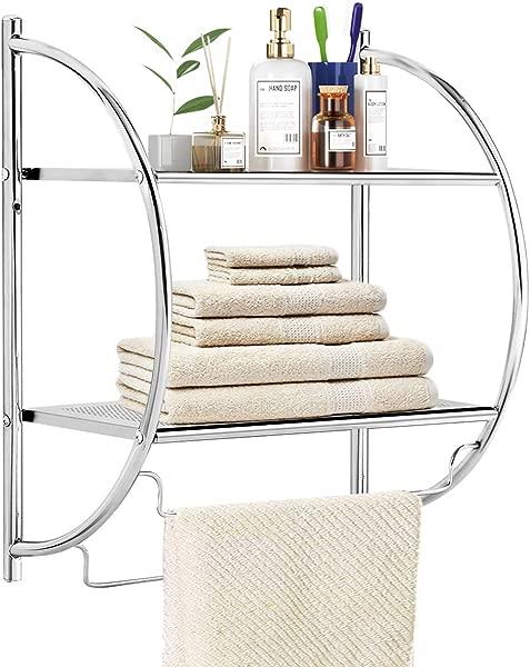 TANGKULA 2 Tier Bathroom Shelf With Towel Bars Wall Mounted Bathroom Shelf Home Toilet Double Layer Organizer Storage Shelf Rustproof Chrome Shelf Towel Shelf