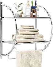 TANGKULA 2-Tier Bathroom Shelf with Towel Bars, Wall Mounted Bathroom Shelf, Home Toilet Double Layer Organizer Storage Shelf, Rustproof Chrome Shelf, Towel Shelf