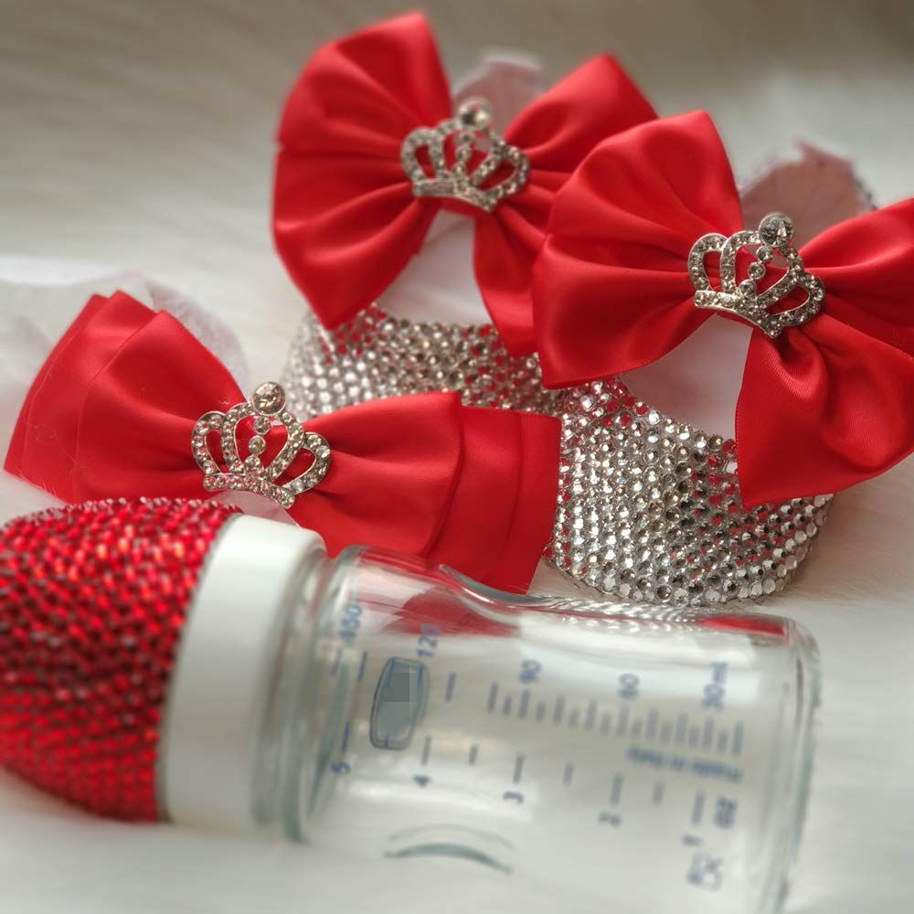 Red Bling Rhinestone Bow First Walking Industry No. 1 Shoes Trust Crib with Baby Crys