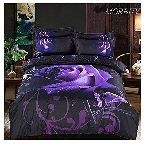 Morbuy Duvet Cover Bedding Set Purple Rose with Dew 3D Effect Floral Flowers Housewife Non Lron Quilt Bedding Sets with Pillow Cases King Size Bed 3-Piece (King 220x240cm)