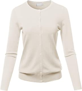 SSOULM Women's Long Sleeve Crew Neck Button Down Soft Knit Cardigan Sweater with Plus Size