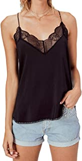 Women's Lace Cami Tank Top Racerback with Adjustable Spaghetti Strap