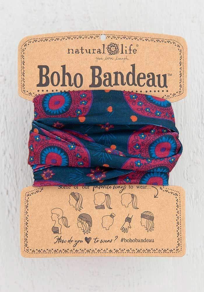 Natural Life Women's Boho Bandeau Headbands Hair Band Balaclava Face Mask Headwrap Hair Accessories One Size (Navy Berry Medallion)