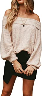Ofenbuy Womens Sweaters Off The Shoulder Batwing Sleeve Loose Knit Pullover Sweater