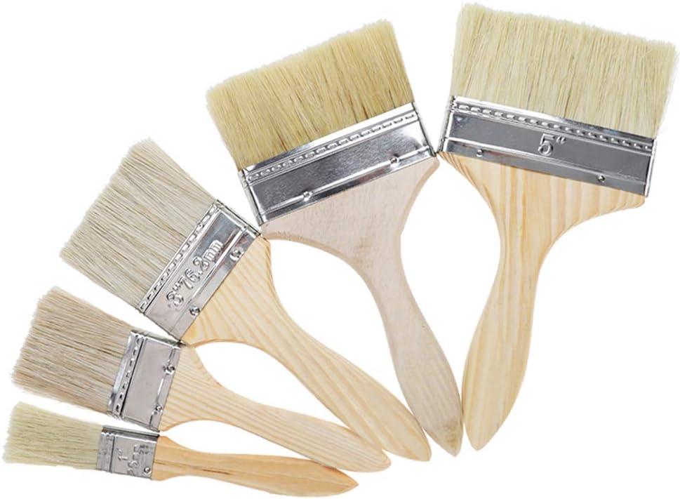 Jixista Pinceles de Cerdas Planas Madera Cepillo de Pintura Set 5PCS Brochas de Pinturas con Mango de Madera y cerdas para Pintura de Pared y Muebles Cepillo Pintura Brochas Pintor Profesionales