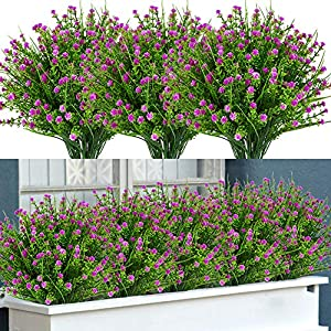 GETYARD 12 Bundles Outdoor Artificial Flowers, Real Touch Fake Baby's Breath UV Resistant No Fade Faux Plastic Plants