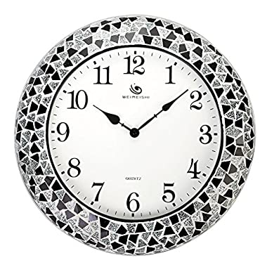 Round Stylish Quartz Silent Non-ticking Wall Clock with Glass Cover and Ceramic Chip frame