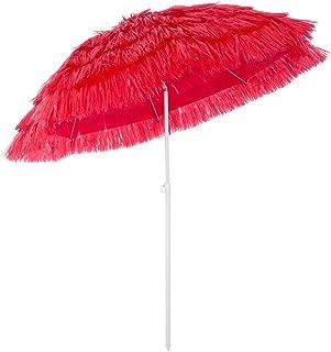 Deuba Sombrilla de Playa jardín Exterior Ø 160 cm Hawaii Color Rojo con función de inclinación Parasol reclinable