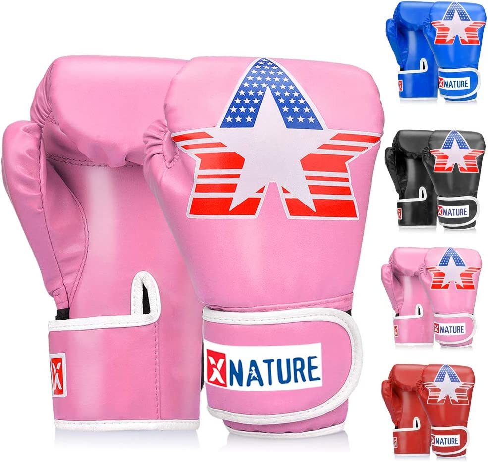 Xnature 4oz 6oz 8oz PU Kids Boxing Gloves,Gift Box Children Kickboxing Sparring Youth Boxing Or Training Gloves Age 5-12 Years for Christmas and Birthday Present