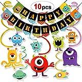 HOWAF Monstruo Decoración para Fiesta de cumpleaños, Guirnalda Happy Birthday y Colgantes de remolinos para cumpleaños, Baby Shower niñas y niños