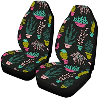 INTERESTPRINT Skier Husky Dog Animal Car Seat Cover Front Seats Only Full Set of 2, Car Front Seat Cushion Fit Car, Truck, SUV or Van