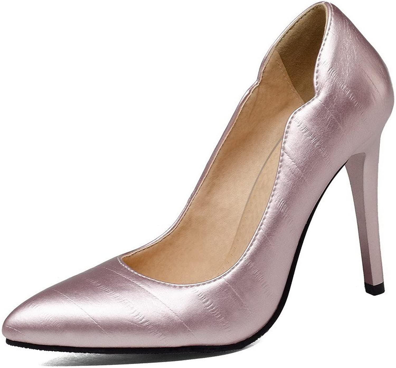 WeiPoot Women's Pull-on High-Heels PU Solid Round Closed Toe Pumps-shoes