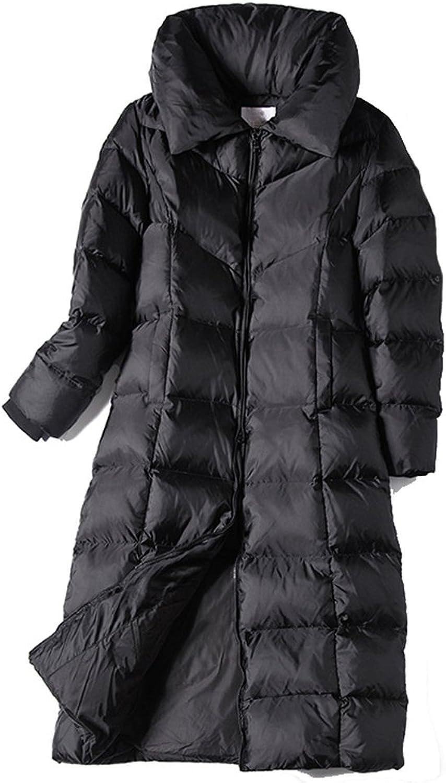 Allonly Women's ALine Slim Fit ZipUp Thicken Long Puffer Jacket Down Coat